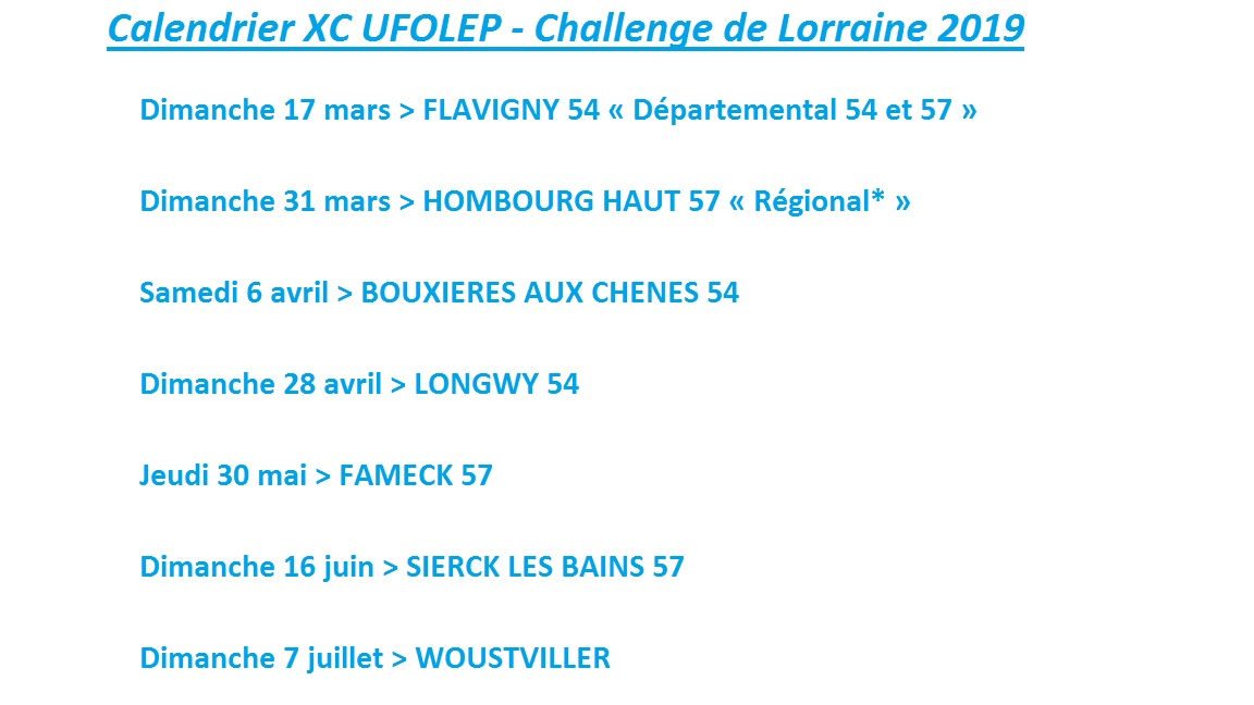 Calendrier UFOLEP_2019